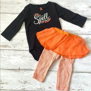 Baby Girls 9m Halloween 2pc Outfit Carters Orange